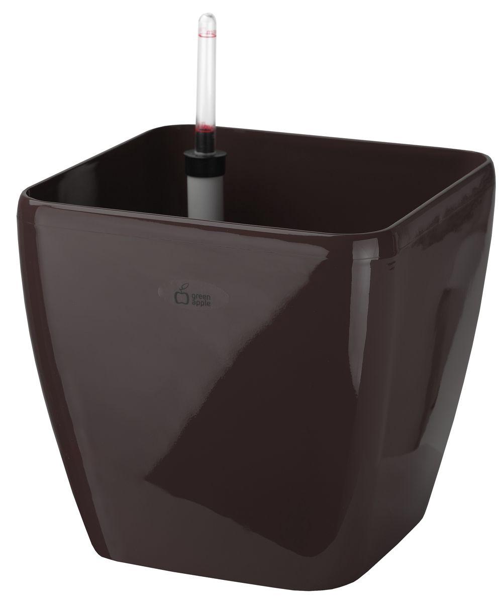 Горшок Green Apple, с системой автополива, цвет: венге, 22 х 22 х 20,5 смZ-0307Квадратный горшок Green Apple, выполненный из полипропилена (пластика), имеет уникальную систему автополива, благодаря которой корневая система растения непрерывно снабжается влагой из резервуара. Уровень воды в резервуаре контролируется с помощью специального индикатора. В зависимости от размера кашпо и растения воды хватает на 2-12 недель. Длина индикатора уровня воды: 22,5 см.