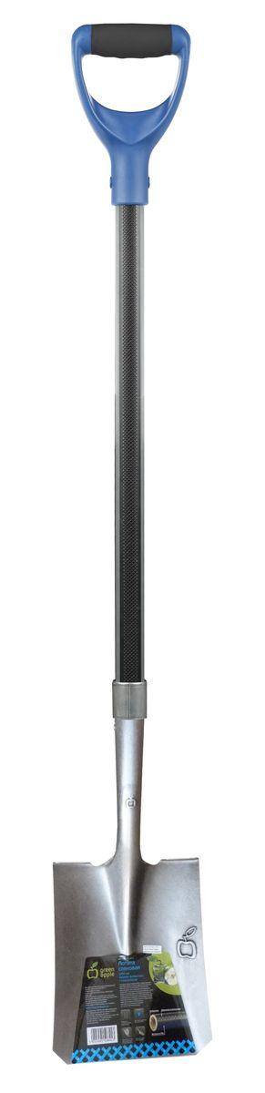 Лопата совковая Green Apple, с черенком из фибергласса, 120 см466494_синий, белыйСовковая лопата Green Apple предназначена перемещение грунта и других материалов. Рабочая часть лопаты изготовлена из марганцевой закаленной стали. Благодаря пружинным свойствам стали полотно всегда сохраняет свою первоначальную форму. D-образная рукоятка создана для оптимального приложения усилия и обеспечивает удобный, нескользящий захват. Черенок лопаты состоит из фибергласса с покрытием в виде протектора из полиэстера и вспомогательными вставками из термопластичной резины. Длина лопаты: 120 см. Размер рабочей части: 22,7 см х 29 см.