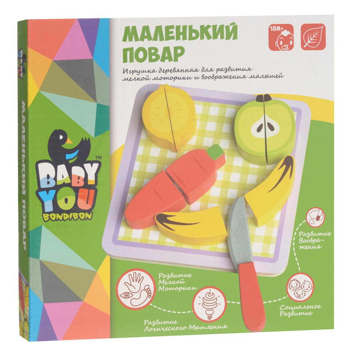 """Игровой набор Bondibon """"Маленький повар"""" - набор овощей и фруктов, предназначенный для сюжетно-ролевой игры. Половинки овощей и фруктов легко соединяются на """"липучках"""" и """"разрезаются"""" деревянным ножом. Мудрые родители выбирают для своих малышей игрушки, которые обучают малыша в процессе увлекательной игры, формируют его внутренний мир и не вредят здоровью. Деревянные развивающие игрушки, детали которых сделаны из различных пород дерева - клена, можжевельника, березы - это не просто яркий предмет, способный надолго увлечь ребенка, но и его первый учитель, рассказывающий о мире на интуитивно понятном крохе языке. Игрушка способствует развитию сенсомоторных навыков, творческого и логического мышления, речи и навыков общения, а также формирует элементарные математические представления."""