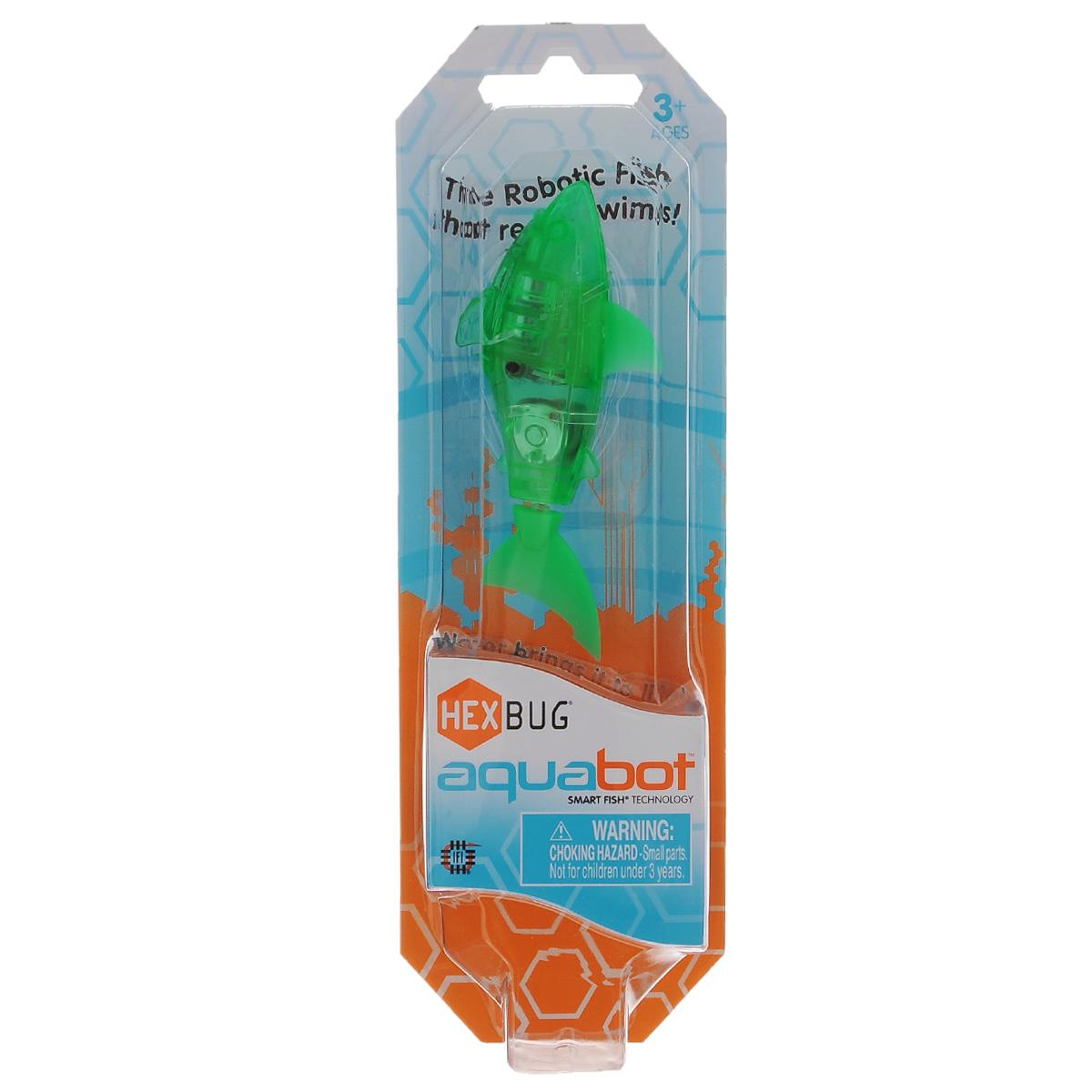 """Уникальный микро-робот Hexbug """"Aquabot Shark"""", цвет: зеленый, изготовлен из безопасного пластика в виде акулы. Теперь микро-роботы осваивают и водные глубины! Hexbug """"Aquabot Shark"""" плавает как настоящая акула и непредсказуем в направлении движения. Опустите его в воду и он оживет! Если микро-робот замер, то достаточно просто всколыхнуть воду и он снова поплывет. Вне воды он автоматически выключается. Для работы игрушки необходимы 2 батарейки типа LR44 (товар комплектуется демонстрационными)."""