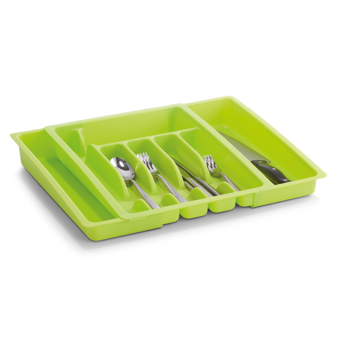 Подставка для столовых приборов Zeller, раздвижная, цвет: зеленый, 28-48 х 38 х 6,5 смАС19333000Подставка для столовых приборов Zeller изготовлена из высококачественного прочного пластика. Изделие имеет 4 средних секции для хранения ложек, вилок и ножей, маленькую широкую и длинную узкую секции - для различных кухонных принадлежностей. Подставка регулируется по длине, что позволяет установить ее в любые кухонные ящики, при этом появляется дополнительная секция для хранения.