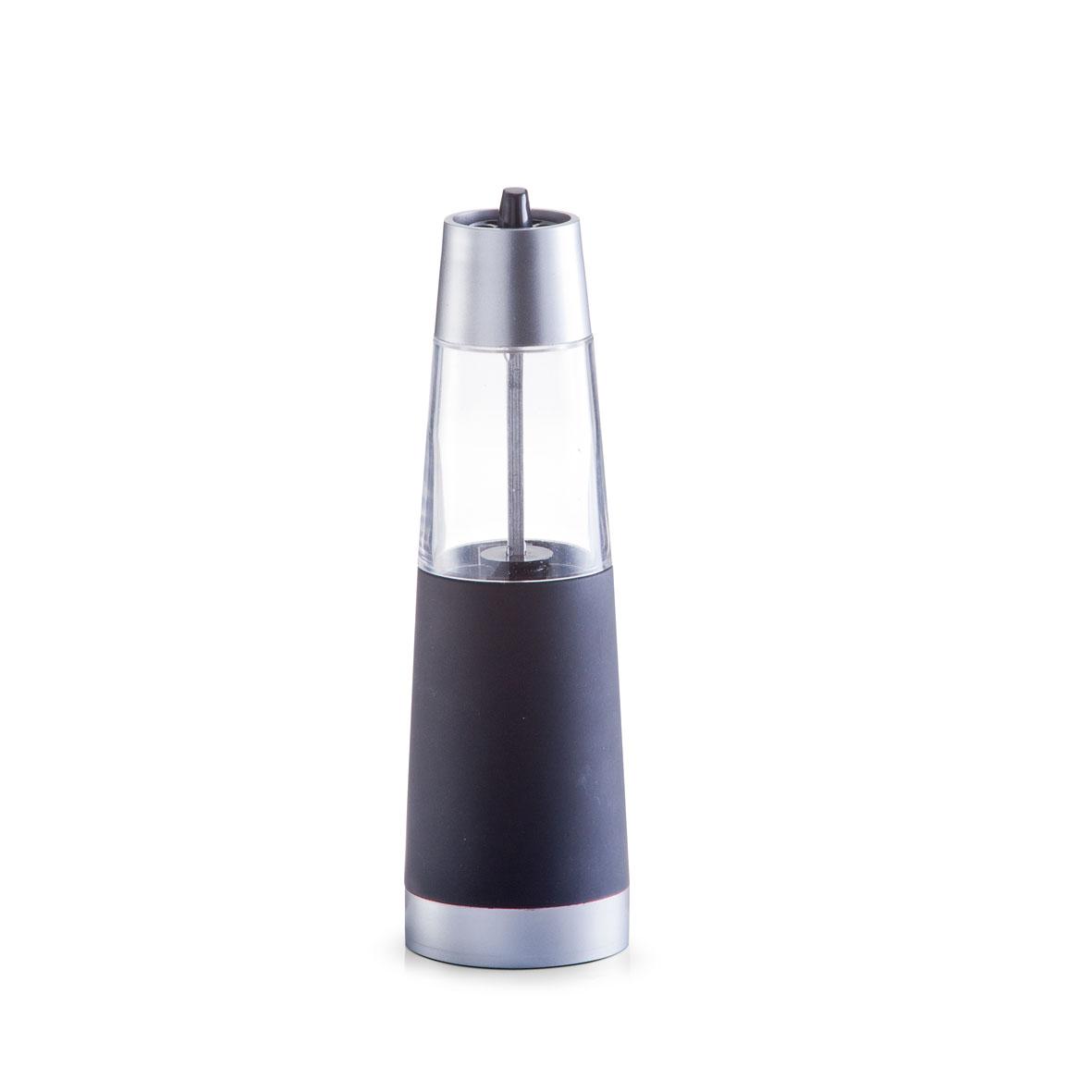 Измельчитель для соли и перца Zeller, электрический, цвет: черный, серебристый, прозрачный, высота 19 см21395599Измельчитель Zeller выполнен в современном стиле и предназначен для перемалывания морской соли и перца. Изделие имеет пластиковое основание и прозрачную емкость. Мельница оснащена регулируемым керамическим механизмом помола. Чтобы привести механизм в действие нужно просто нажать кнопку и она автоматически начнет перемалывать. Измельчитель Zeller добавит вашим блюдам яркие вкусовые краски. Изделие удобно в использовании и имеет стильный дизайн, который станет ярким акцентом в интерьере вашей кухни. Работает от 6 батареек типа ААА (в комплект не входят).