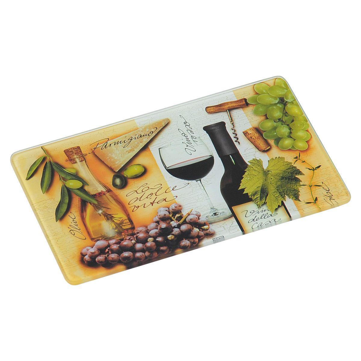 Доска разделочная Kesper Italien, 23,5 х 14,5 смFS-91909Разделочная доска Kesper Italien, изготовленная из гладкого закаленного стекла с ярким рисунком, станет незаменимым атрибутом приготовления пищи. Доска устойчива к повреждениям и не впитывает запахи, идеально подходит для разделки мяса, рыбы, приготовления теста и для нарезки любых продуктов. Доску можно использовать как подставку под горячее, так как она выдерживает температуру до 280°C. Силиконовые ножки, расположенные на основании, не позволят разделочной доске скользить по столу.