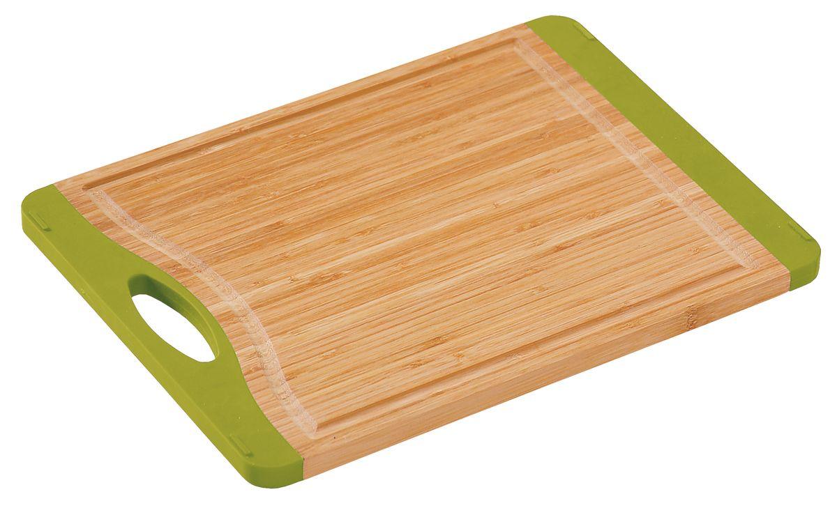 Доска разделочная с ручкой, 40х30см., бамбук54 009312Доска разделочная с ручкой, изготовлена из бамбука с антискользящими зелеными вставками.Прекрасно подходит для приготовления и сервировки пищи. . светлое дерево с зелыными встаквками