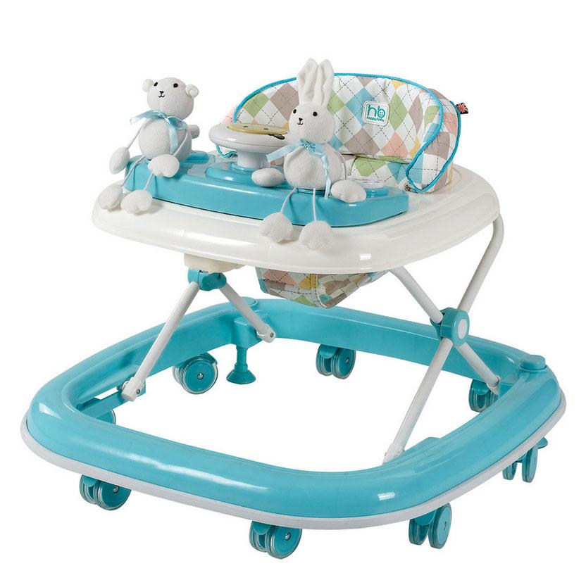 Мягкие цвета ходунков привлекут внимание ребёнка. Игровая панель со звуковыми эффектами и съёмными игрушками поможет развить у малыша зрение, слух хватательный рефлекс и мелкую моторику. Мяг- кое, удобное сиденье легко регулируется по высоте в зависимости от роста. Ходунки Smiley оборудованы специальными силиконовыми колё- сами, благодаря которым напольное покрытие не поцарапается. Кноп- ка стопора позволяет контролировать передвижение ребёнка. Игровая панель работает от двух пальчиковых батареек (тип АА).