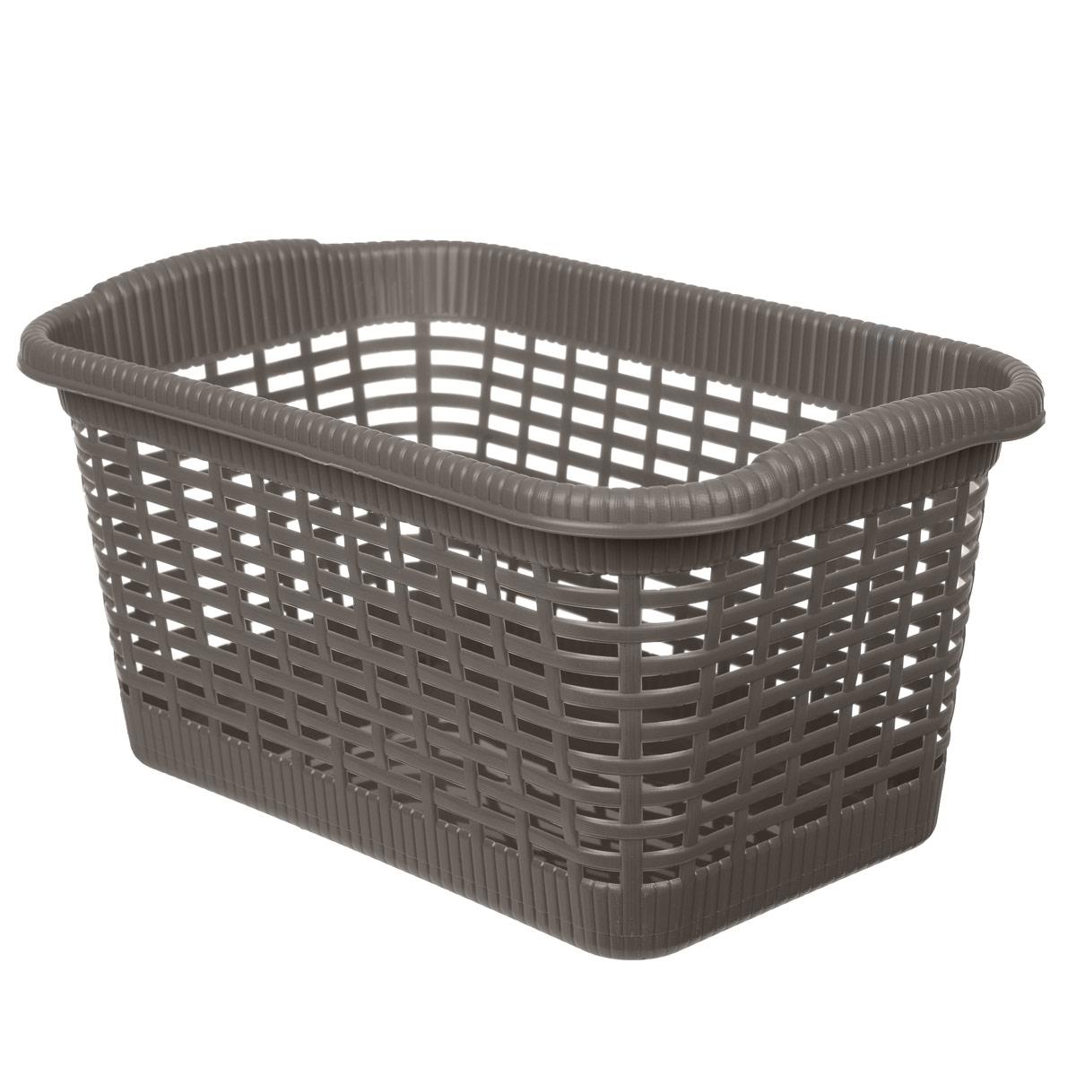 Корзина хозяйственная Gensini, цвет: коричневый, 36 x 22,5 x 18 смTD 0033Универсальная корзина Gensini, выполненная из пластика, предназначена для хранения мелочей в ванной, на кухне, даче или гараже. Позволяет хранить мелкие вещи, исключая возможность их потери. Легкая воздушная корзина выполнена под плетенку и оснащена жесткой кромкой.Размер: 36 см x 22,5 см x 18 см. Объем: 15 л.