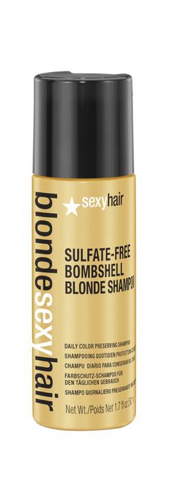 Sexy Hair Шампунь для сохранения цвета без сульфатов Sulfate-free Bombshell Blonde Shampoo, 50 млFS-00897Роскошный Шампунь для ежедневного ухода для осветленных, мелированных и седых волос. Специально разработанная технология Perfect-Balance Technology с экстрактом ромашки, меда и киноа поддерживает яркость и блеск цвета, укрепляет и увлажняет волосы, защищает от повреждений и выгорания. Стимулирует рост волос. Без сульфатов, глютена, парабенов, солей
