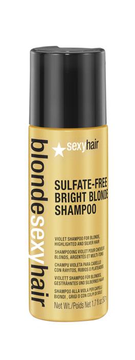 Sexy Hair Шампунь корректирующий Сияющий Блонд без сульфатов, Sulfate-free bright blonde shampoo, 50 млFS-00897Этот роскошный корректирующий шампунь идеален для осветленных, мелированных и седых волос. Фиолетовый пигмент шампуня убирает нежелательные желтые и медные оттенки, предотвращает появление теплых оттенков. Специально разработанная технология Perfect-Balance Technology с экстрактом ромашки, меда и киноа увлажняет и укрепляет волосы, придает сияние. Без сульфатов, глютена, парабенов, солей.
