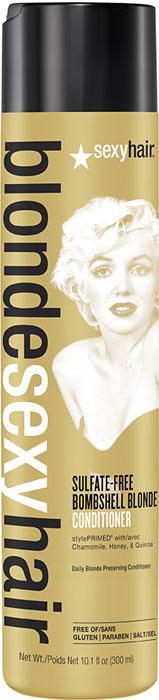 Sexy Hair Кондиционер для сохранения цвета без сульфатов, BLSH Bombshell Blonde Conditioner, 300 млFS-00897Роскошный Кондиционер для ежедневного ухода для осветленных, мелированных и седых волос. Укрепляет волосы, защищает от повреждений и появления секущихся кончиков. Специально разработанная технология Perfect-Balance Technology с экстрактом ромашки, меда и киноа смягчает, увлажняет волосы, предохраняет от выгорания, делает волосы мягкими и сияющими. Без сульфатов, глютена, парабенов, солей.