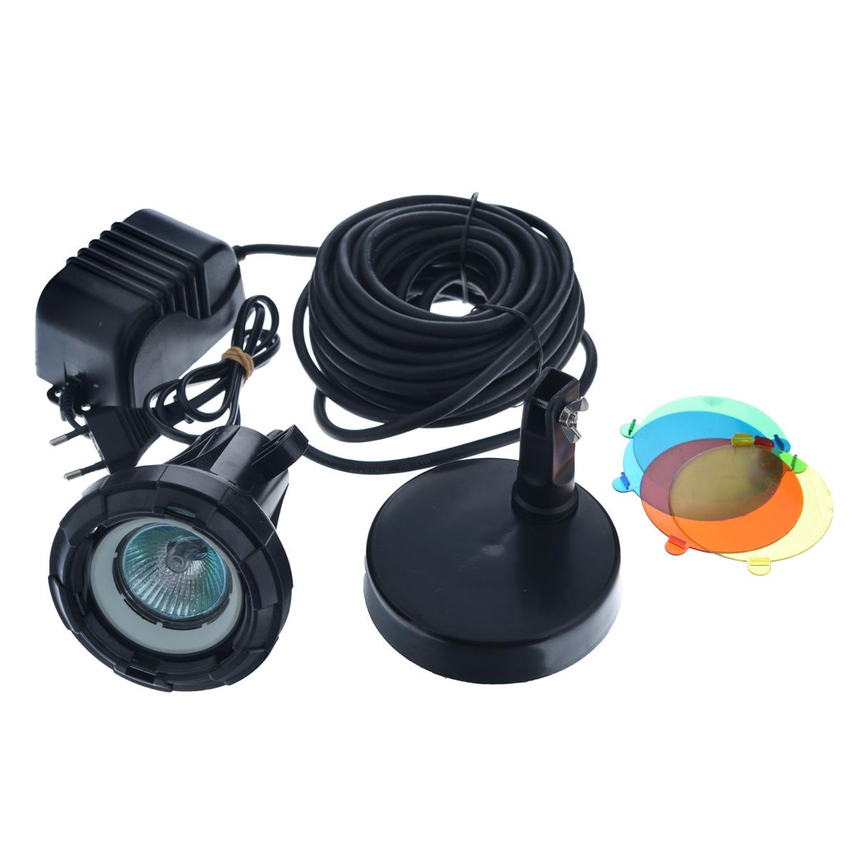 Лампа для подводного освещения Aquael, с трансформатором, 5 цветов. L20T4-50 WhiteЛампа Aquael выполнена из прочного пластика черного цвета и предназначена для подводного освещения водоемов или аквариумов. Лампа устанавливается на специальную подставку. Особенности лампы Aquael:- дает точечный свет;- пять цветов свечения: белый, желтый, красный, зеленый, голубой;- питание от трансформатора 11,6-12V;- трехметровый кабель питания с быстродействующим соединением обеспечивает легкое присоединение в любом месте на электропроводе низкого напряжения;- галогенная лампа 12В 20Вт. Размер лампы (без подставки): 10 см х 9,5 см х 9,5 см.