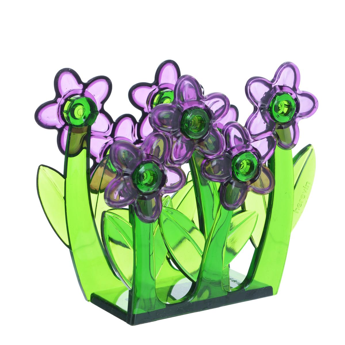 Салфетница Herevin, цвет: фиолетовый115510Салфетница Herevin, изготовленная из высококачественного прочного пластика, оформлена декоративными цветами. Яркий и оригинальный дизайн несомненно придется вам по вкусу. Такая салфетница великолепно украсит праздничный стол.