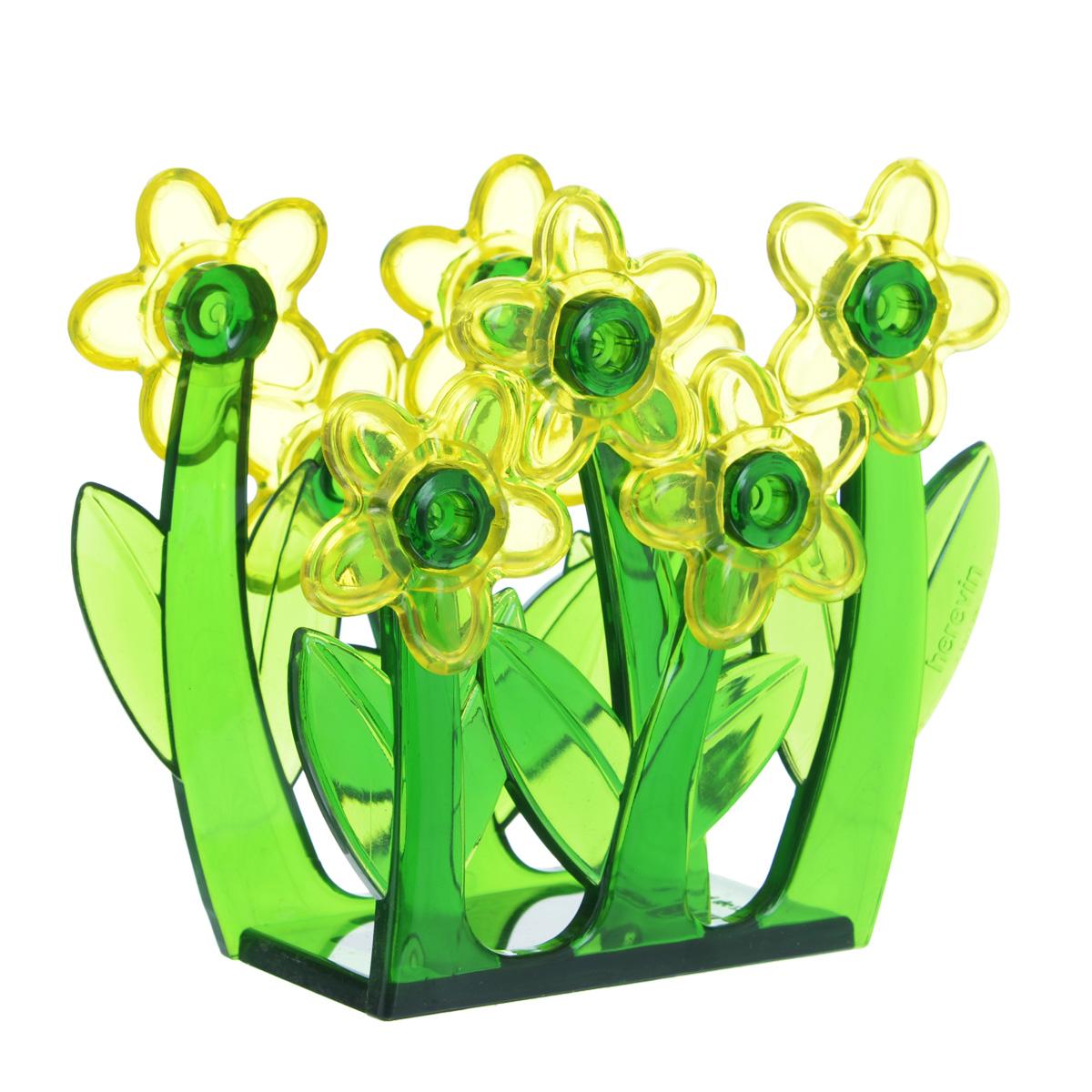 Салфетница Herevin, цвет: желтыйVT-1520(SR)Салфетница Herevin, изготовленная из высококачественного прочного пластика, оформлена декоративными цветами. Яркий и оригинальный дизайн несомненно придется вам по вкусу. Такая салфетница великолепно украсит праздничный стол.