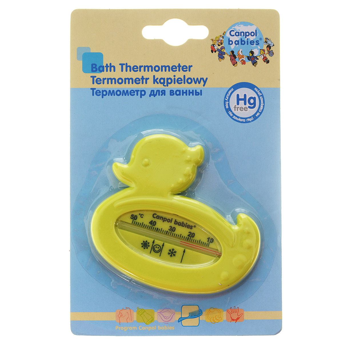 """Термометр для воды """"Canpol Babies"""" выполнен из безопасного материала в форме уточки. Термометр без использования ртути позволяет измерять температуру воды точно, а необычная форма будет привлекать внимание малыша во время купания. Оптимальная температура воды для ребенка от 32°С до 37°С отмечена на шкале изображением смайлика."""