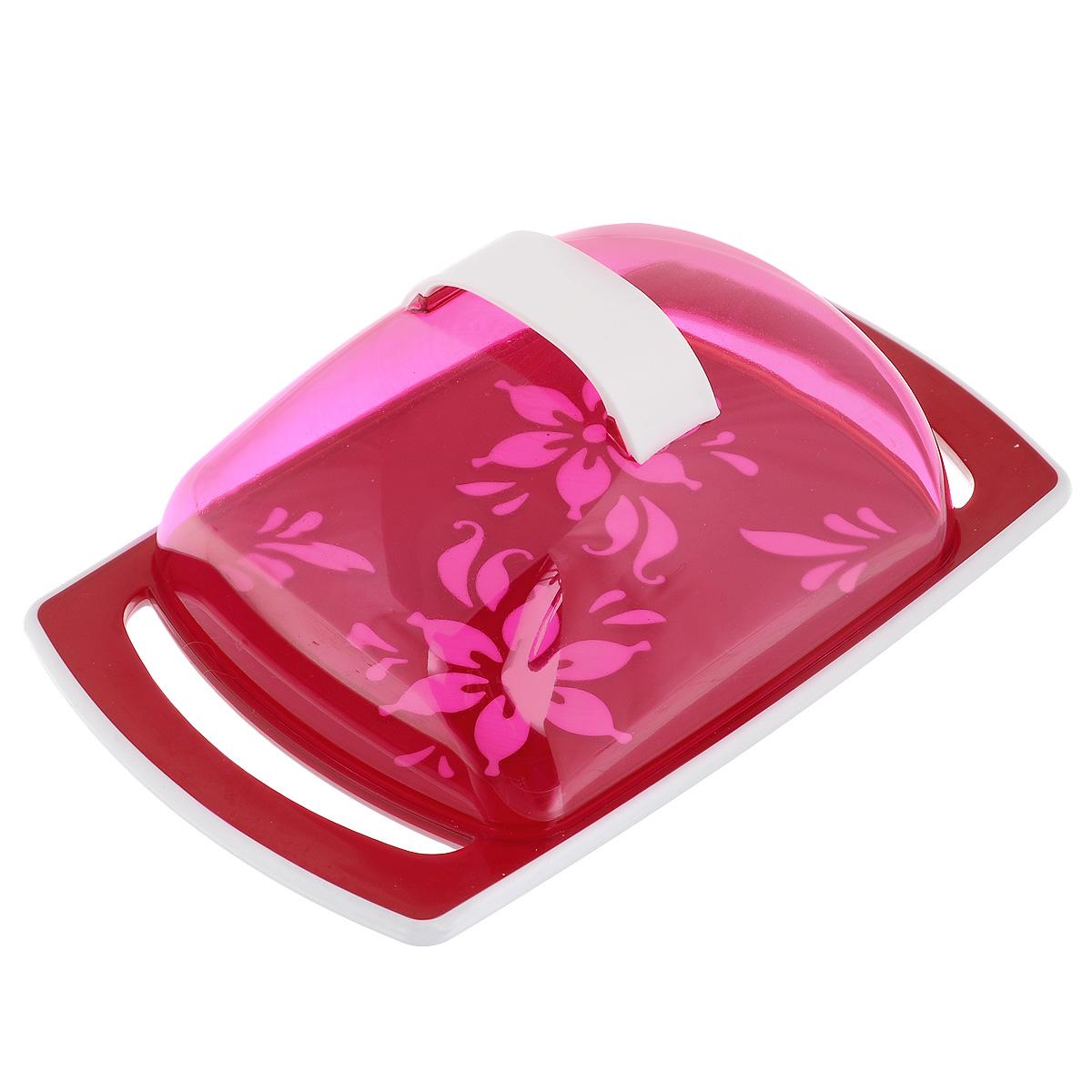 Масленка Альтернатива Премьера, цвет: красный115510Масленка Альтернатива Премьера идеально подходит для хранения масла и сервировки стола. Масленка состоит из подноса, выполненного из пластика, и прозрачной пластиковой крышки с ручкой. Благодаря специальным выемкам крышка плотно устанавливается на поднос. Поднос масленки украшен яркими цветами.Масло в такой масленке долго остается свежим, а при хранении в холодильнике не впитывает посторонние запахи. Рекомендации по использованию: - Не используйте для чистки абразивные моющие средства. - Берегите крышку от нагревания. - Хранить вдали от источников тепла. - При отрезании масла избегайте сильных воздействий на основание масленки во избежание ее повреждения.Размер масленки: 18 см х 11,5 см х 5,5 см.