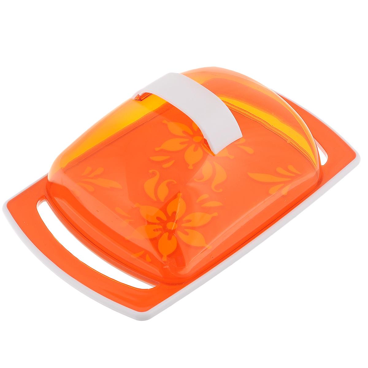 Масленка Альтернатива Премьера, цвет: оранжевый115510Масленка Альтернатива Премьера идеально подходит для хранения масла и сервировки стола. Масленка состоит из подноса, выполненного из пластика, и прозрачной пластиковой крышки с ручкой. Благодаря специальным выемкам крышка плотно устанавливается на поднос. Поднос масленки украшен яркими цветами.Масло в такой масленке долго остается свежим, а при хранении в холодильнике не впитывает посторонние запахи. Рекомендации по использованию: - Не используйте для чистки абразивные моющие средства. - Берегите крышку от нагревания. - Хранить вдали от источников тепла. - При отрезании масла избегайте сильных воздействий на основание масленки во избежание ее повреждения.Размер масленки: 18 см х 11,5 см х 5,5 см.