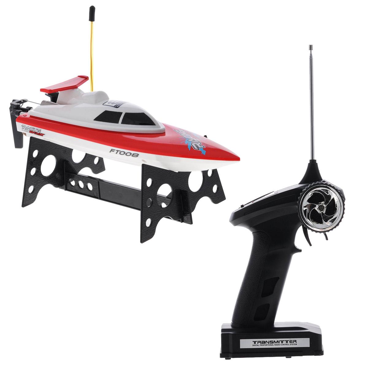 """Радиоуправляемая модель Bluesea """"Катер Racing Boat FT008"""" понравится всем любителям водных гонок. Модель выполнена в виде гоночного катера модельного класса, имеет надежный корпус и двойную влагозащиту, а также большой крутящийся пропеллер. Катер двигается во всех направлениях: вперед, назад, влево, вправо, а также переворачивается сверху вниз. Катер способен плавать и поворачивать как быстро, так и медленно, что позволит использовать его на любом водоеме - от небольшого бассейна до открытого моря! Имеется противоударная насадка на кончик носа и защита от включения вне водоема. Игрушка управляется с помощью дистанционного пульта управления, действующего на расстоянии 25 метров. Игрушкой очень легко управлять, катер послушно двигается в нужную сторону. Он оснащен профессиональным передатчиком с частотой 27 MHz. В процессе игры у ребенка развивается координация движений, ловкость, логическое и пространственное мышление, концентрация внимания, фантазия и память. ..."""