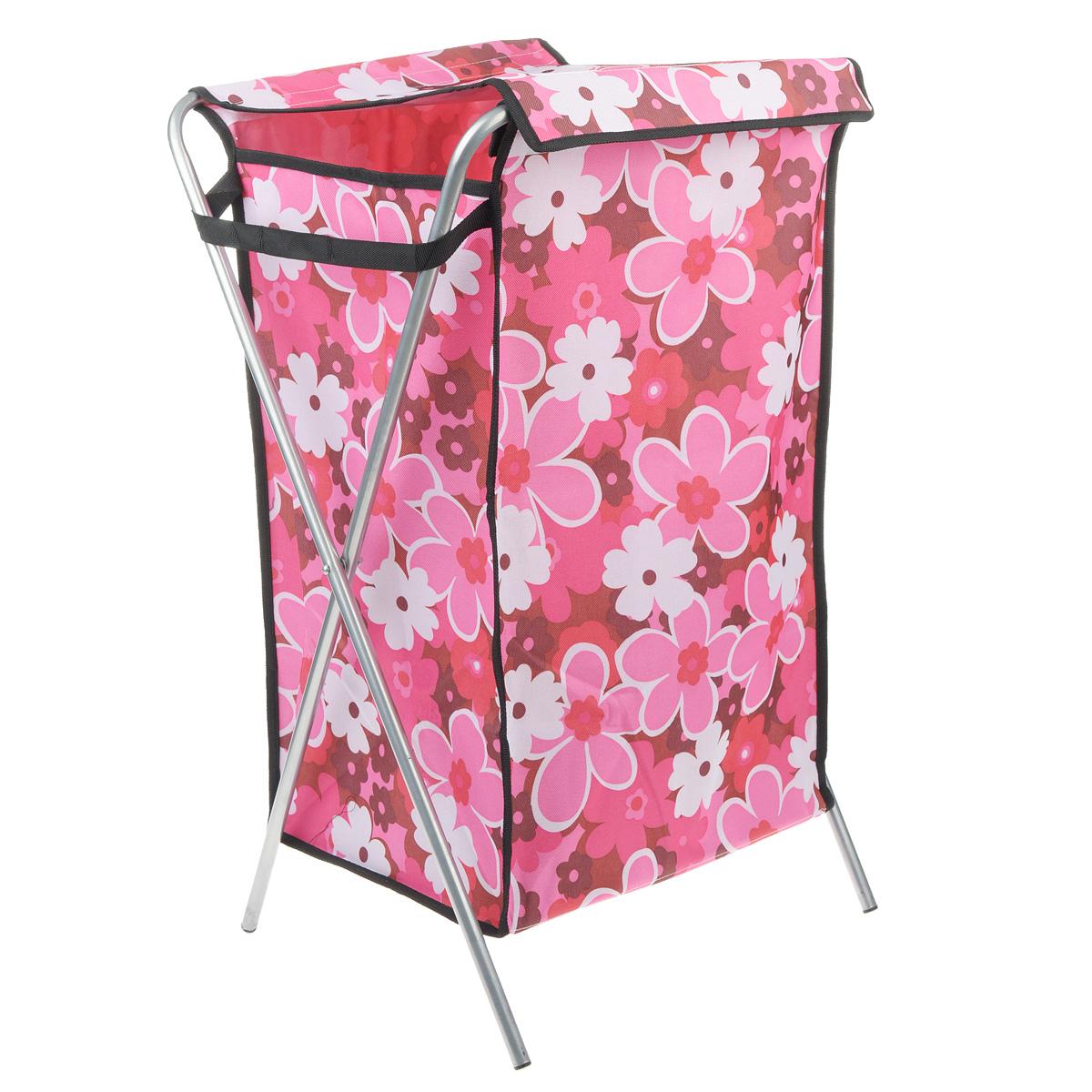 Корзина для белья Цветы, цвет: розовый, 40 см х 40 см х 65 см531-105Корзина для белья изготовлена из высококачественного цветного полиэстера, декорирована ярким красочным рисунком и предназначена для сбора и хранения вещей перед стиркой. Корзина имеет алюминиевый складывающийся каркас. Компактная и легкая, она не занимает много места, аккуратно хранит белье. Изделие оснащено крышкой из полиэстера. Такая корзина станет незаменимым аксессуаром ванной комнаты.