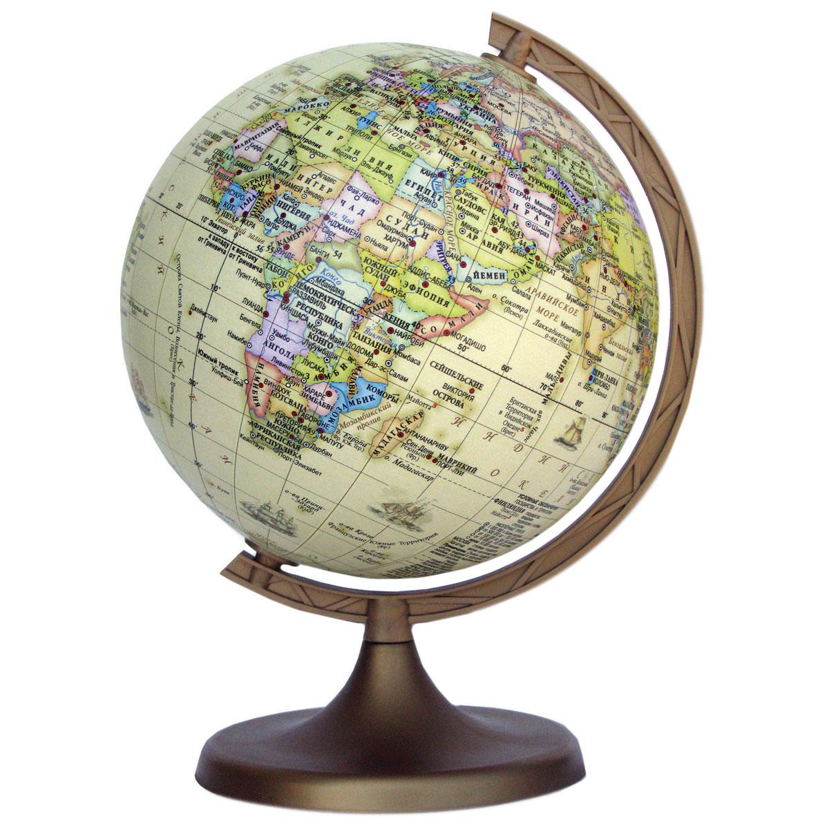 Глобус DMB Ретро, c политической картой мира, диаметр 11 смFS-00897Политический глобус DMB Ретро, изготовленный из высококачественногопрочного пластика, дает представление о политическом устройстве мира. Он напоминает глобусы, которые делали в старину, но с современными картами нынешней Земли. Как правило, карта таких глобусов является современной политической. Ретро глобусы очень популярны для домашнего и офисного оформления, потому что удачно вписываются в интерьер благодаря своему бежевому нежному цвету.Изделие расположено на подставке. Все страны мира раскрашены в разныецвета. На политическом глобусе показаны границы государств, столицы икрупные населенные пункты, а также картографические линии: параллели имеридианы, линия перемены дат. Названия стран на глобусе приведены нарусском языке. Ничто так не обеспечивает всестороннего и детальногоизучения политического устройства мира в таком сжатом и объемном образе,как политический глобус. Сделайте первый шаг в стимулирование своегообучения! Настольный глобус DMB Ретро станет оригинальным украшением рабочегостола или вашего кабинета. Это изысканная вещь для стильного интерьера,которая станет прекрасным подарком для современного преуспевающегочеловека, следующего последним тенденциям моды и стремящегося кэлегантности и комфорту в каждой детали.Высота глобуса с подставкой: 17 см.Диаметр глобуса: 11 см.Масштаб: 1:115 000 000.