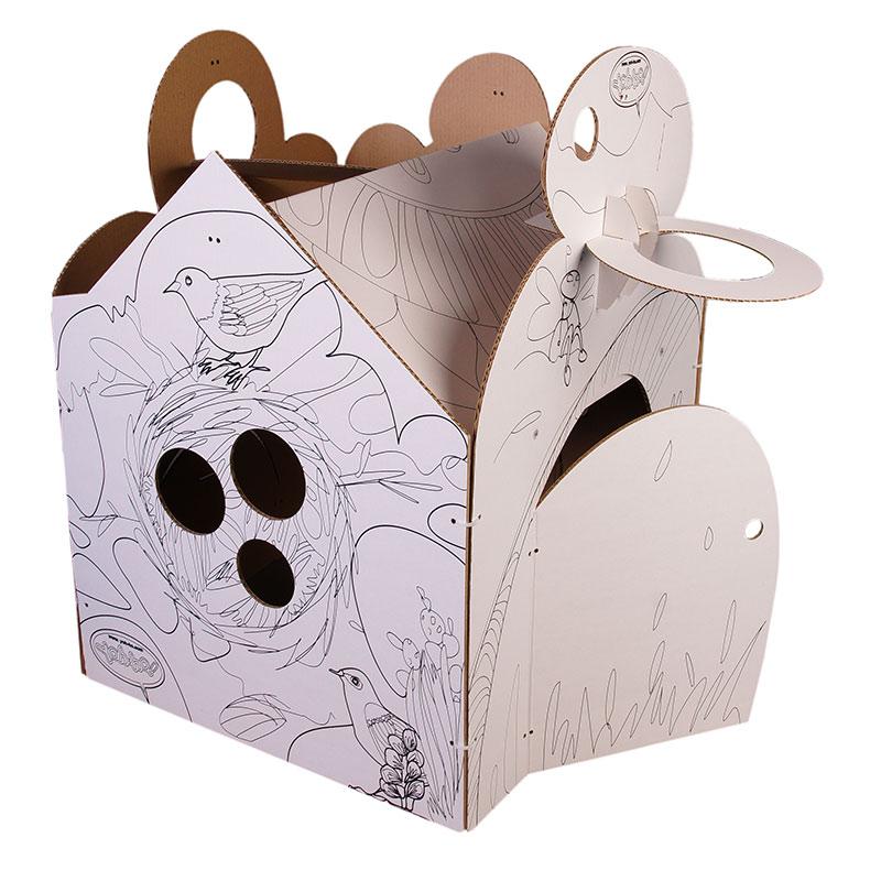 Детский игровой домик-раскраска Yoh-ho! трансформирующийся в ширму. Домик легко собирается и разбирается в ширму за 10 мин! Ширма не занимает много места в комнате, убирается к стенке и может служить творческим предметом интерьера детской! С одной сторонки домика нанесен контур рисунка, с другой - чистый лист картона для полной свободы творчества! Пусть ваш ребенок раскрашивает наш домик, а не ваши обои!:) У домика Yoh-ho! есть игровой реквизит в виде баскетбольной сетки, вывесок, подоконника с держателем под стаканчик, еды и 3Д фигурок для раскраски. Мы используем для Yoh-ho! домиков пятислойный усиленный гофрокартон - 100% ЭКО! Домик-раскраска продается в комплекте со сменный декором на выбор.