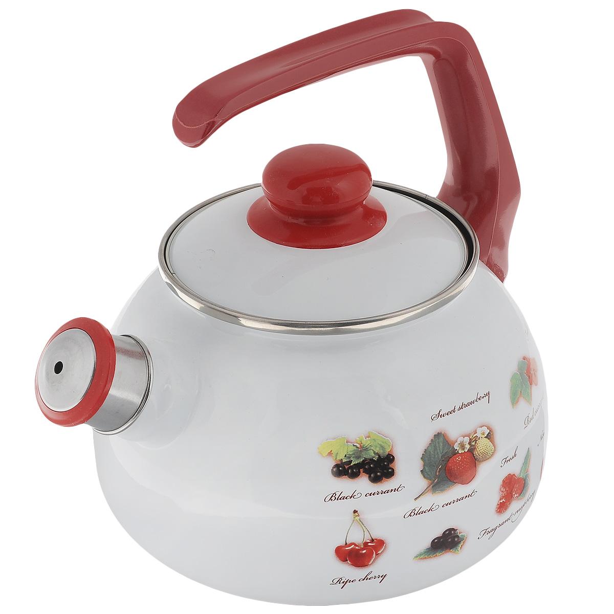 Чайник Metrot Ягоды, со свистком, 2,5 лVT-1520(SR)Чайник Metrot Ягоды выполнен из высококачественной стали, что обеспечивает долговечность использования. Внешнее цветное эмалевое покрытие придает приятный внешний вид. Бакелитовая фиксированная ручка делает использование чайника очень удобным и безопасным. Чайник снабжен съемным свистком.Можно мыть в посудомоечной машине. Пригоден для всех видов плит, включая индукционные.Высота чайника (без учета крышки и ручки): 13 см.Диаметр (по верхнему краю): 13 см.