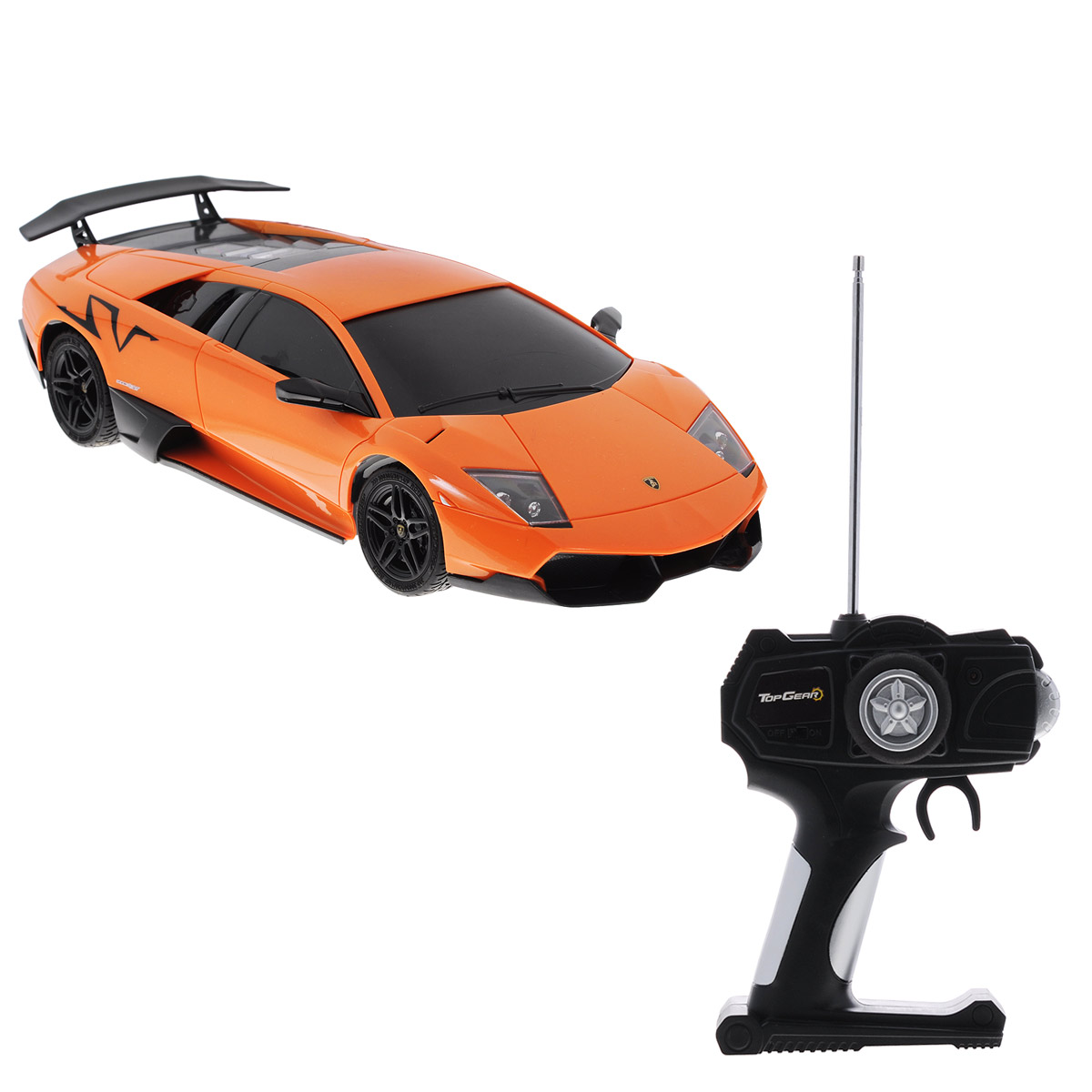 """Все мальчишки любят мощные крутые тачки! Особенно если это дорогие машины известной марки, которые, проезжая по улице, обращают на себя восторженные взгляды пешеходов. Радиоуправляемая модель TopGear """"Lamborghini Murcielago LP 670-4"""" - это детальная копия существующего автомобиля в масштабе 1:18. Машинка изготовлена из прочного легкого пластика; колеса прорезинены. При движении передние и задние фары машины светятся. При помощи пульта управления автомобиль может перемещаться вперед, дает задний ход, поворачивает влево и вправо, останавливается. Встроенные амортизаторы обеспечивают комфортное движение. В комплект входят машинка и пульт управления. Автомобиль отличается потрясающей маневренностью и динамикой. Ваш ребенок часами будет играть с моделью, устраивая захватывающие гонки. Для работы машины необходимо докупить 4 батарейки напряжением 1,5V типа АА (не входят в комплект). Для работы пульта управления необходимо докупить 2 батарейки напряжением..."""