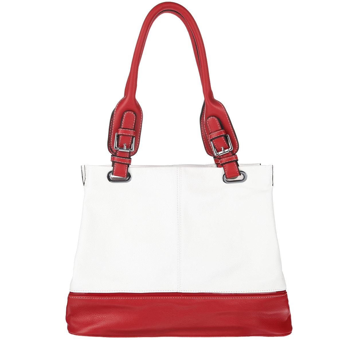 Сумка женская Leighton, цвет: белый, красный. 510264-1070KV996OPY/MЖенская сумка Leighton выполнена из высококачественной искусственной кожи. Модель содержит три отделения, среднее закрывается на застежку-молнию, два боковых на магнитные кнопки. Среднее отделение внутри содержит втачной карман на застежке-молнии и два накладных кармашка. Задняя сторона дополнена врезным карманом на застежке-молнии. Сумка оснащена двумя удобными ручками. Дно защищено металлическими ножками, обеспечивающими дополнительную устойчивость.Изысканный декор, стильная фурнитура, классическая форма в сочетании с вместительностью и удобством делают эту модель прекрасным дополнением к вашему образу.