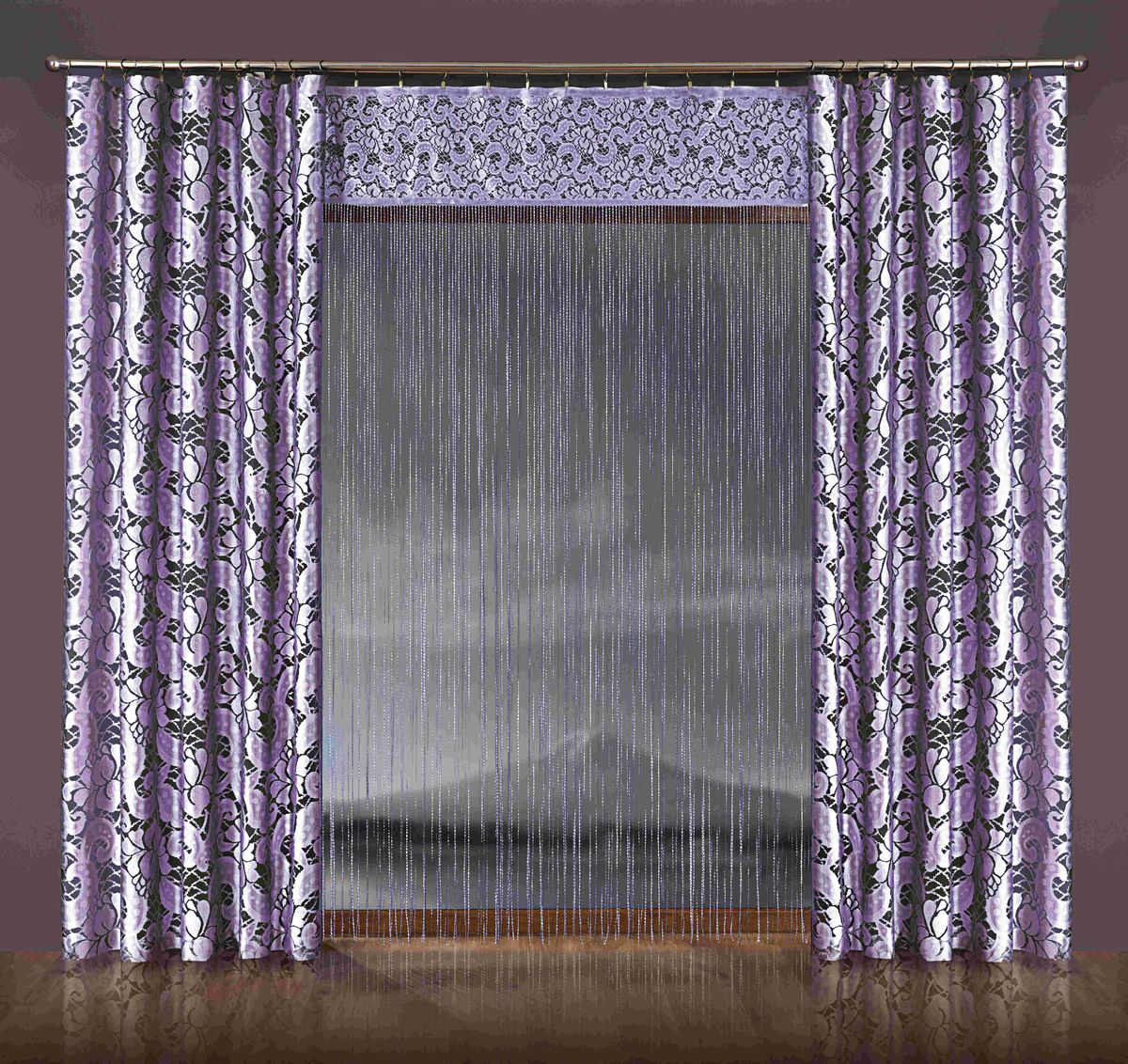 Комплект штор WISAN 170*250+150*250*2. 077WSVC-300Комплект штор WISAN 170*250+150*250*2. 077WМатериал: 100% п/э, размер: 170*250+150*250*2, цвет: лиловый