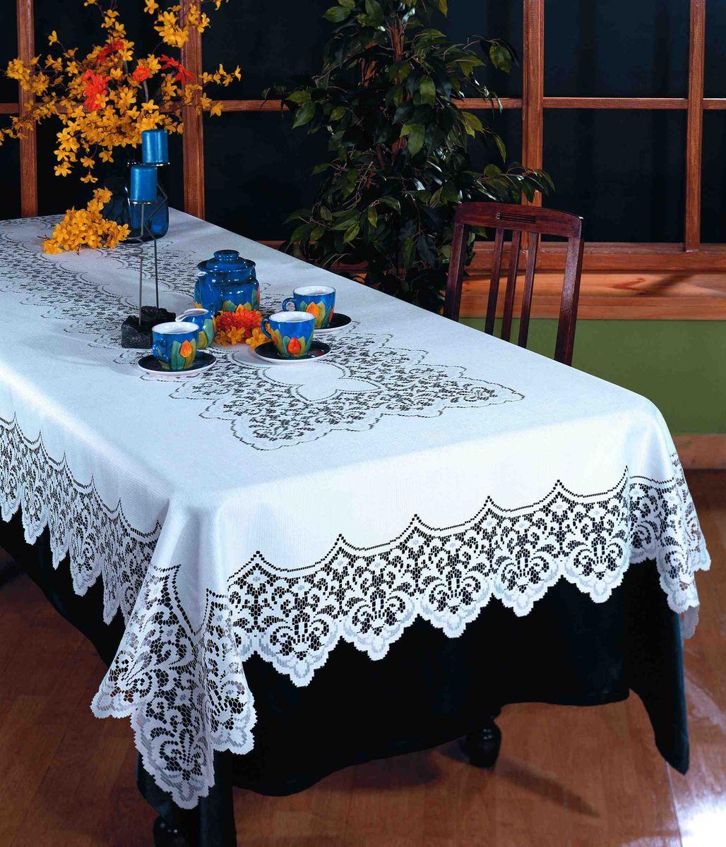 Скатерть Wisan Fukasz, прямоугольная, цвет: белый, 150x 300 смVT-1520(SR)Великолепная прямоугольная скатерть Wisan Fukasz, выполненная из 100% полиэстера, органично впишется в интерьер любого помещения, а оригинальный дизайн удовлетворит даже самый изысканный вкус. Скатерть изготовлена из сетчатого материала с ажурным орнаментом по краям и по центру. Скатерть Wisan Fukasz создаст праздничное настроение и станет прекрасным дополнением интерьера гостиной, кухни или столовой.