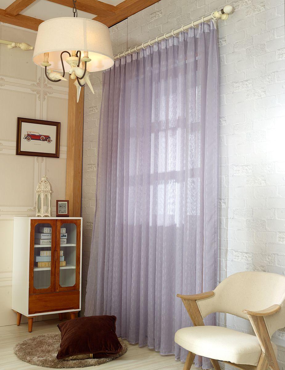 Тюль Zlata Korunka, на ленте, цвет: бледно-лиловый, высота 250 смDW90Тюль Zlata Korunka изготовлен из 100% полиэстера и великолепно украсит любое окно. Воздушная ткань и приятная, приглушенная гамма привлекут к себе внимание и органично впишутся в интерьер помещения. Полиэстер - вид ткани, состоящий из полиэфирных волокон. Ткани из полиэстера - легкие, прочные и износостойкие. Такие изделия не требуют специального ухода, не пылятся и почти не мнутся.Крепление к карнизу осуществляется с использованием тесьмы. Такой тюль идеально оформит интерьер любого помещения.