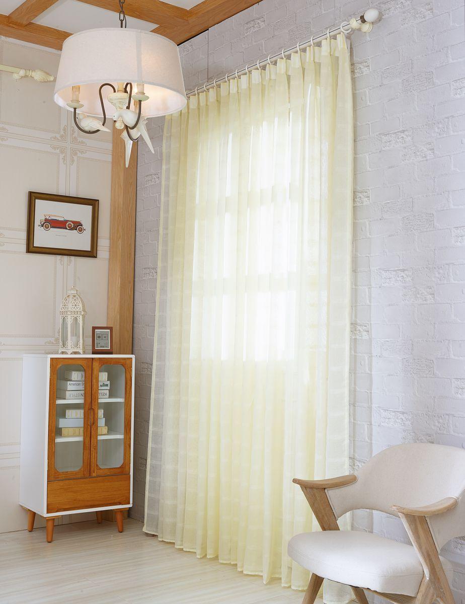 Тюль Zlata Korunka, на ленте, цвет: кремово-желтый, высота 270 см. 20153-8219000/170Тюль Zlata Korunka изготовлен из 100% полиэстера и великолепно украсит любое окно. Воздушная ткань и приятная, приглушенная гамма привлекут к себе внимание и органично впишутся в интерьер помещения. Полиэстер - вид ткани, состоящий из полиэфирных волокон. Ткани из полиэстера - легкие, прочные и износостойкие. Такие изделия не требуют специального ухода, не пылятся и почти не мнутся.Крепление к карнизу осуществляется с использованием ленты-тесьмы. Такой тюль идеально оформит интерьер любого помещения.Рекомендации по уходу:- ручная стирка,- можно гладить,- нельзя отбеливать.