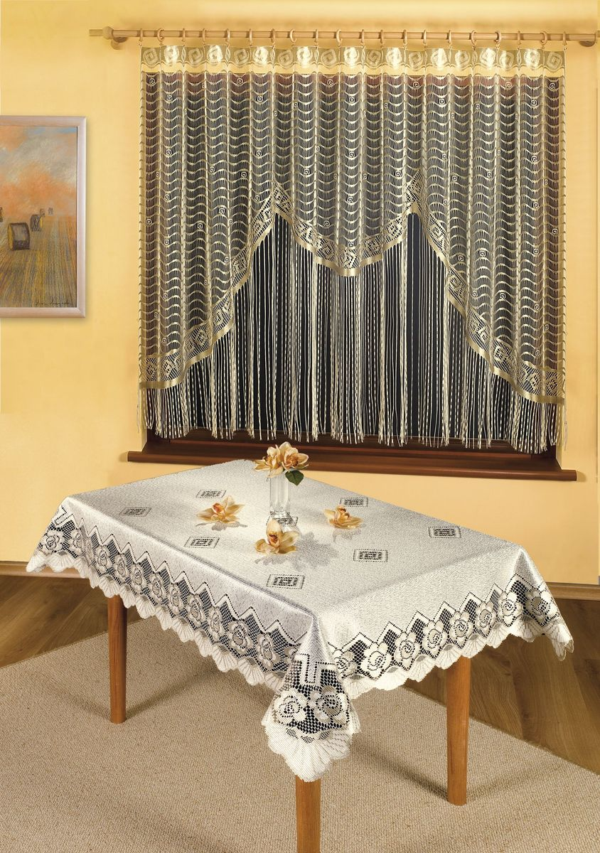 Скатерть Wisan Gerarda, прямоугольная, цвет: кремовый, 120x 160 см1010215435Великолепная прямоугольная скатерть Wisan Gerarda, выполненная из 100% полиэстера, органично впишется в интерьер любого помещения, а оригинальный дизайн удовлетворит даже самый изысканный вкус. Скатерть изготовлена из сетчатого материала с ажурным цветочным орнаментом по краям. Скатерть Wisan Gerarda создаст праздничное настроение и станет прекрасным дополнением интерьера гостиной, кухни или столовой.