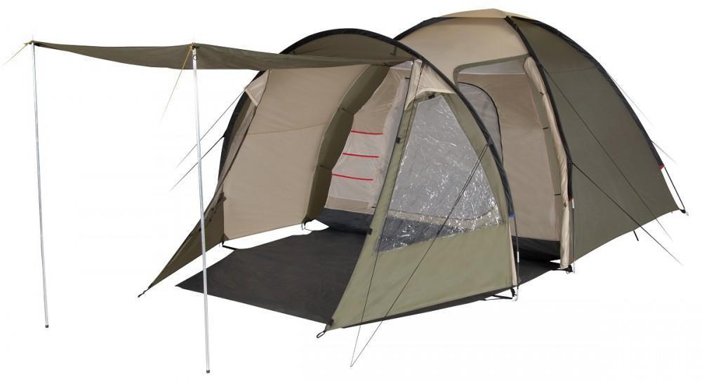 Палатка пятиместная TREK PLANET Atlanta Air 5, цвет: светло-коричневый, хаки70233Пятиместная двухслойная кемпинговая палатка TREK PLANET Atlanta Air 5 с вместительным светлым тамбуром, обзорными окнами и двумя входами в тамбур и дополнительным входом в спальное помещение с противоположной стороны палатки.Особенности:Тент палатки из полиэстера с пропиткой PU надежно защищает от дождя и ветра,Все швы проклеены,Высокий, вместительный и светлый тамбур с двумя входами,Боковая дверь тамбура закрывается молнией, спрятанной под внешним клапаном, что препятствует попаданию влаги через молнию во время дождя,Два обзорных окна со шторками во внутреннем помещении,Большой выносной козырек на металлических стойках,Эффективная потолочная система вентиляции во внутренней палатке, Съемный пол в тамбуре из армированного полиэтилена,Дно из прочного водонепроницаемого армированного полиэтилена позволяет устанавливать палатку на жесткой траве, песчаной поверхности, глине,Дуги из прочного стеклопластика,Внутренняя палатка из дышащего полиэстера, обеспечивает вентиляцию помещения и позволяет конденсату испаряться, не проникая внутрь палатки,Два входа в спальное помещение,Удобная D-образная дверь на каждом входе в спальное отделение,Москитная сетка на каждом входе во внутреннюю палатку в полный размер двери,Органайзер на передней стенке спального отделения,Внутренние карманы для мелочей во внутренней палатке,Возможность подвески фонаря в палатке,Для удобства транспортировки и хранения предусмотрен чехол из прочного полиэстера OXFORD, с двумя ручками и закрывающийся на застежку-молнию.
