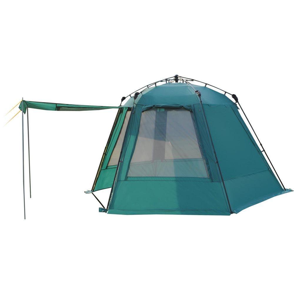 Тент-шатер GREENELL Грейндж, полувтоматический, цвет: зеленый95459-325-00Тент-шатер с полуавтоматическим каркасом, телескопическими дугами для быстрой установки, двумя входами, все стенки продублированы москитной сеткой. Дополнительные стойки, позволяют сделать навес от солнца. Облегченная регулировка оттяжек. Оттяжки со световозвращающей нитью.