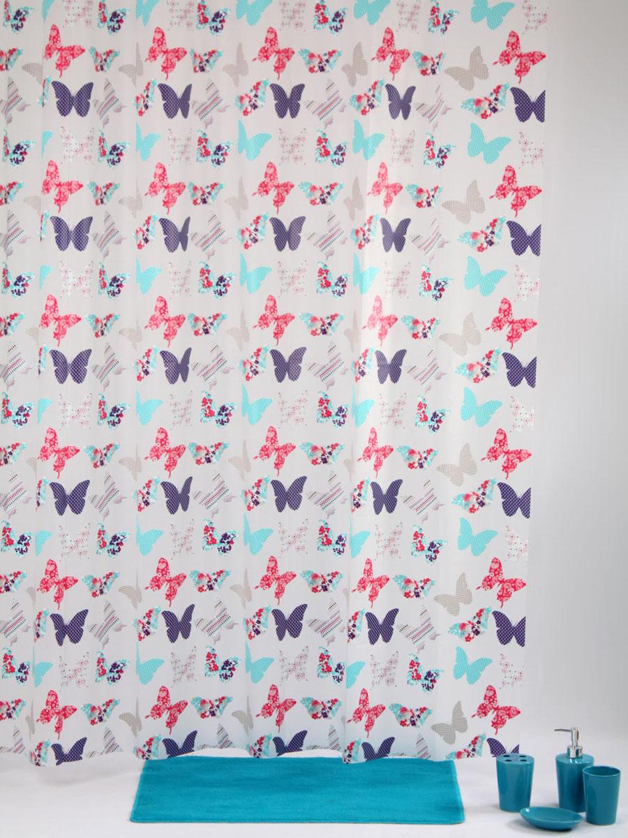 Штора для ванной White Fox Бабочки, с крючками, цвет: розовый, сиреневый, голубой, 180 см х 200 см14107Штора для ванной White Fox Бабочки изготовлена из ПВХ. Она обладает высокой степенью влагостойкости и устойчива к загрязнениям. Рисунок нанесен по специальной водозащитной технологии, позволяющей максимально долго сохранять первоначальные цвета. В комплект входит 12 крючков из прочного пластика. Новая конструкция крючков с защелкой надежно удержит штору на карнизе. Штора и крючки составляют единую композицию, которая гармонично вписывается в интерьер ванной комнаты. Рекомендации по уходу: Штора удобна и проста в уходе. Ее можно протирать мыльным раствором, полоскать в прохладной воде.Размер крючка: 5 см х 6 см х 1,5 см.
