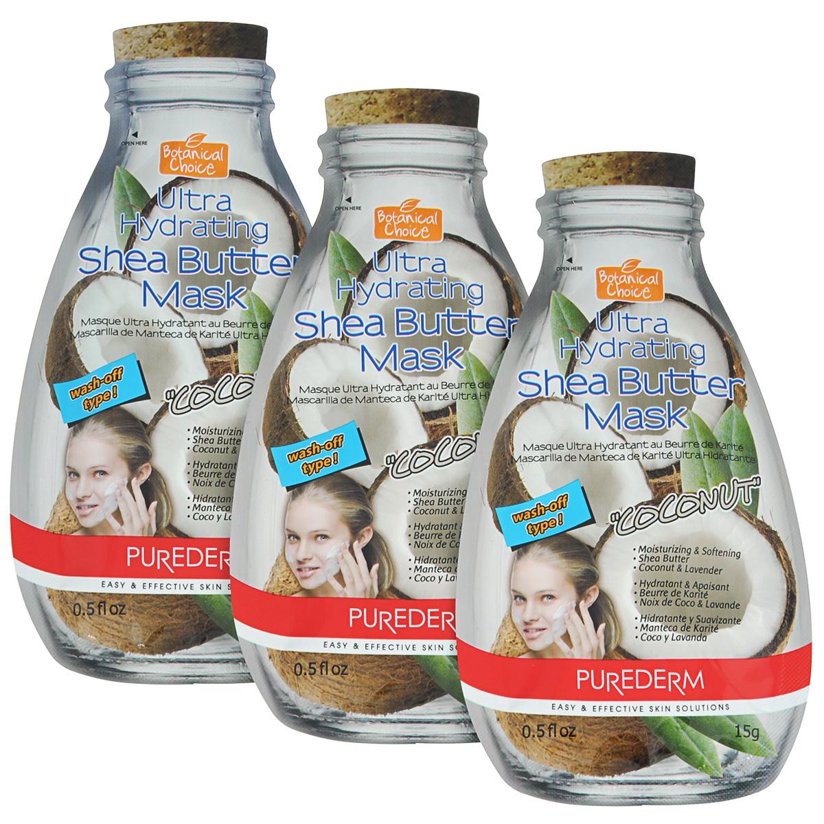 Purederm Ультра-увлажняющая маска для лица с маслом Ши Кокос, 3х15 г.72523WDCредство для интенсивного ухода, содержащее ароматную вытяжку Кокосового Ореха в сочетании с ценным маслом Ши и другими природными смягчающими компонентами (Лаванда, Бергамот) смягчает огрубевшую кожу, помогает восполнить необходимый запас влаги, питает и придает коже сияющий вид.