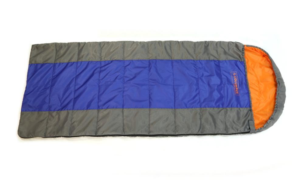 Спальный мешок-одеяло Columbus 100, цвет: серый, синий. 2787 NKOC-H19-LEDСпальный мешок-одеяло с подголовником Columbus 100 - незаменимая вещь для любителей уюта и комфорта во время активного отдыха. Этот теплый спальный мешок спасет вас от холода во время туристического похода, поездки на рыбалку и отдыха на природе, обеспечивая комфорт. Имеет подголовник, который при необходимости можно затянуть в форме капюшона. Быстро сохнет, занимает малый объем. Упакован в удобный чехол, который затягивается шнурком с фиксатором.