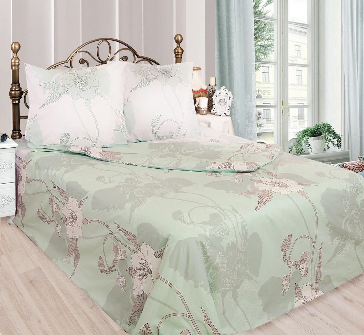 Комплект белья Sova & Javoronok Жасмин (1,5 спальный КПБ, бязь, наволочки 50х70), n50, цвет: белый, зеленыйCA-3505КПБ 1,5 сп. Сова и Жаворонок, бязь, Жасмин, n50 белый,зеленый