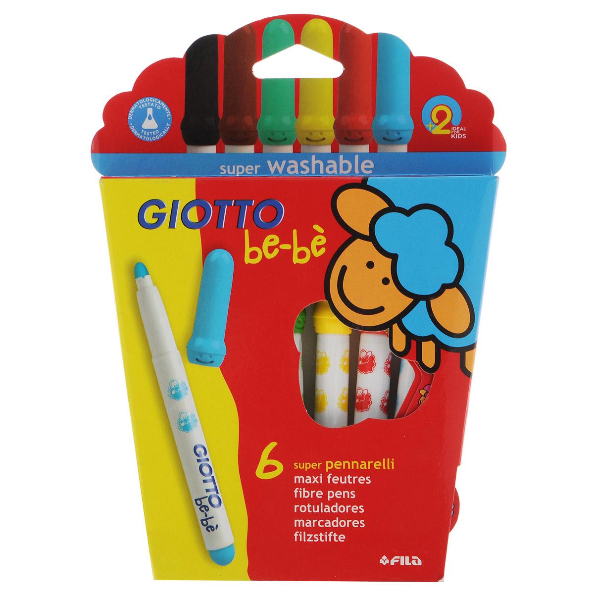 Фломастеры Giotto Bebe Super Fibre Pens, 6 цветов466600