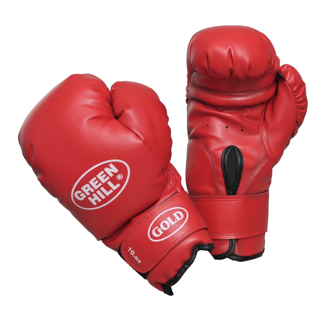 Перчатки боксерские Green Hill Gold, цвет: красный. Вес 10 унцийadiBC02Боксерские тренировочные перчатки Green Hill Gold отлично подойдут для начинающих спортсменов. Верх выполнен из искусственной кожи. Мягкий наполнитель из очеса предотвращает любые травмы. Широкий ремень, охватывая запястье, полностью оборачивается вокруг манжеты, благодаря чему создается дополнительная защита лучезапястного сустава от травмирования. Застежка на липучке способствует быстрому и удобному одеванию перчаток, плотно фиксирует перчатки на руке.