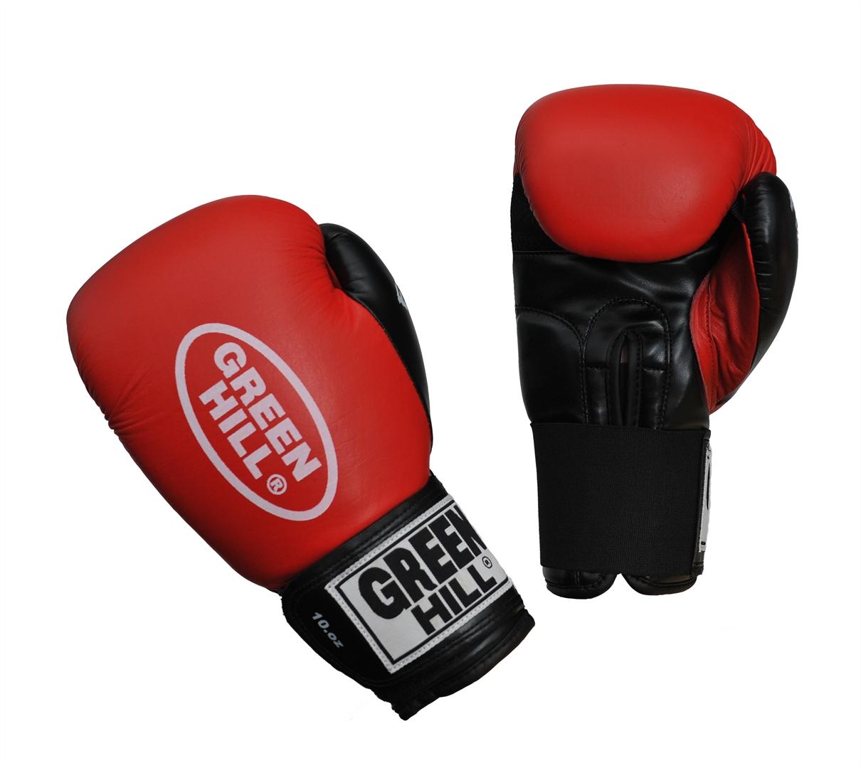Перчатки боксерские Green Hill Fighter, цвет: красный, черный. Вес 10 унций