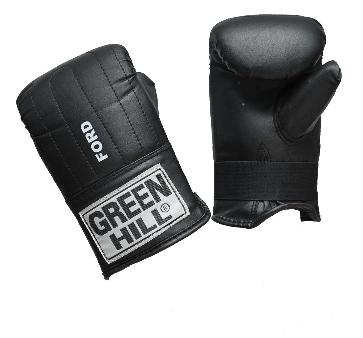 Перчатки снарядные Green Hill Ford, цвет: черный. Размер XLBGG-2018Снарядные перчатки Green Hill Ford предназначены для отработки ударов по мешкам и лапам. Не предназначены для спаррингов, так как могут быть травмоопасны для противника. Подойдут для домашнего использования и для начинающих спортсменов. Перчатки выполнены из искусственной кожи с мягким наполнителем внутри. Манжет не резинке позволяет быстро снимать и одевать перчатки, плотно фиксирует их на руке.