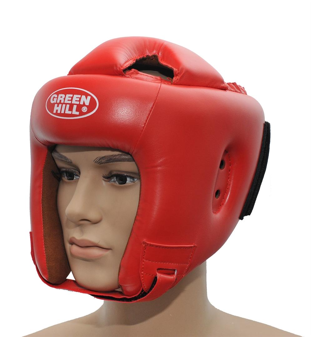Шлем боксерский Green Hill Brave, цвет: красный. Размер XL (61-63 см)Пояс УТ-0000Шлем Green Hill Brave с усиленной защитой теменной области предназначен для занятий боксом и кикбоксингом. Подходит для тренировок и соревнований. Крепления сзади на резинке и под подбородком на липучке крепко удерживают шлем на голове. Верх выполнен из высококачественного кожзаменителя, подкладка из искусственной замши.