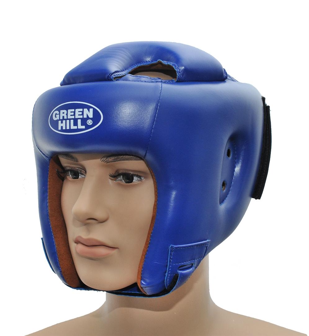 Шлем боксерский Green Hill Brave, цвет: синий. Размер XL (61-63 см)KSC-10044Шлем Green Hill Brave с усиленной защитой теменной области предназначен для занятий боксом и кикбоксингом. Подходит для тренировок и соревнований. Крепления сзади на резинке и под подбородком на липучке крепко удерживают шлем на голове. Верх выполнен из высококачественного кожзаменителя, подкладка из искусственной замши.