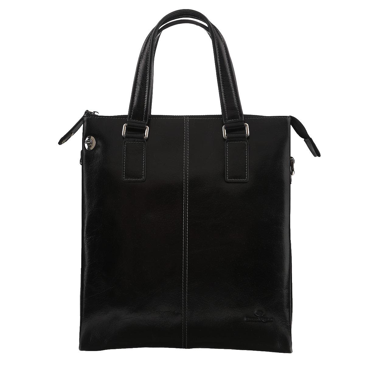 Сумка мужская Dino Ricci, цвет: черный. 1026-09-01S76245Изысканная мужская сумка Dino Ricci выполнена из высококачественной натуральной кожи и оформлена тисненым названием и логотипом бренда на лицевой стороне. Изделие закрывается на застежку-молнию. Внутри одно отделение, разделенное карманом-средником на застежке-молнии, также есть два накладных кармашка для мелочей и мобильного телефона и врезной карман на застежке-молнии. Бегунок можно закрепить на лицевой стороне при помощи замочка-вертушки.Сумка оснащена съемным плечевым ремнем регулируемой длины.Изделие упаковано в фирменный чехол. Классическое цветовое сочетание, стильный декор, модный дизайн - прекрасное дополнение к гардеробу каждого мужчины.