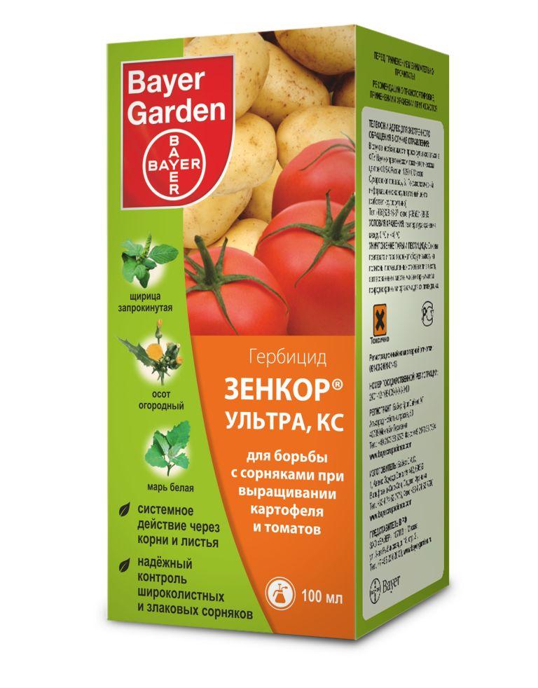 Гербицид Bayer Garden Зенкор, для борьбы с сорняками, 100 мл4029559011394Гербицид Bayer Garden Зенкор выполнен в виде концентрированной суспензии и предназначен для борьбы с сорняками при выращивании картофеля и томатов. Препарат обеспечивает надежный контроль за широколиственными и злаковыми сорняками и системно действует через корни и листья растений. Объем: 100 мл. Действующее вещество: метрибузин. Концентрация: 600 г/л.