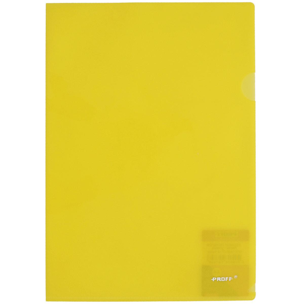 Папка-уголок Proff Alpha, цвет: желтый. Формат А42010440Папка-уголок Proff Alpha, изготовленная из высококачественного полипропилена, это удобный и практичный офисный инструмент, предназначенный для хранения и транспортировки рабочих бумаг и документов формата А4. Полупрозрачная глянцевая папка имеет опрятный и неброский вид. Папка-уголок - это незаменимый атрибут для студента, школьника, офисного работника. Такая папка надежно сохранит ваши документы и сбережет их от повреждений, пыли и влаги.