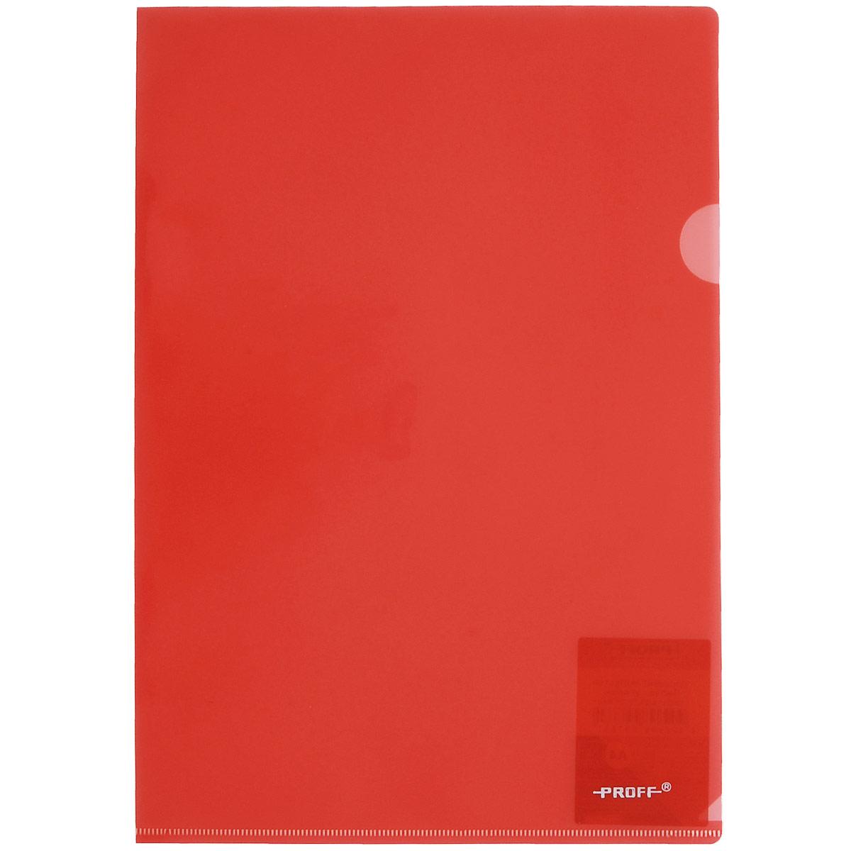 Папка-уголок Proff Alpha, цвет: красный. Формат А4FS-36052Папка-уголок Proff Alpha, изготовленная из высококачественного полипропилена, это удобный и практичный офисный инструмент, предназначенный для хранения и транспортировки рабочих бумаг и документов формата А4. Полупрозрачная глянцевая папка имеет опрятный и неброский вид. Папка-уголок - это незаменимый атрибут для студента, школьника, офисного работника. Такая папка надежно сохранит ваши документы и сбережет их от повреждений, пыли и влаги.