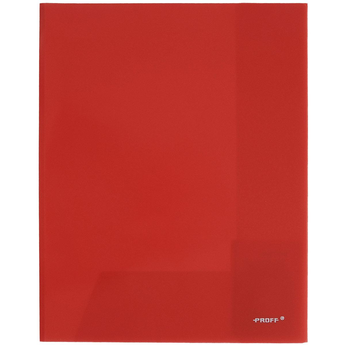 Папка-уголок Proff, цвет: красный, 2 клапана. Формат А4FS-36052Папка-уголок Proff, изготовленная из высококачественного полипропилена, это удобный и практичный офисный инструмент, предназначенный для хранения и транспортировки рабочих бумаг и документов формата А4. Полупрозрачная папка оснащена двумя клапана внутри для надежного удержания бумаг. Папка-уголок - это незаменимый атрибут для студента, школьника, офисного работника. Такая папка надежно сохранит ваши документы и сбережет их от повреждений, пыли и влаги.