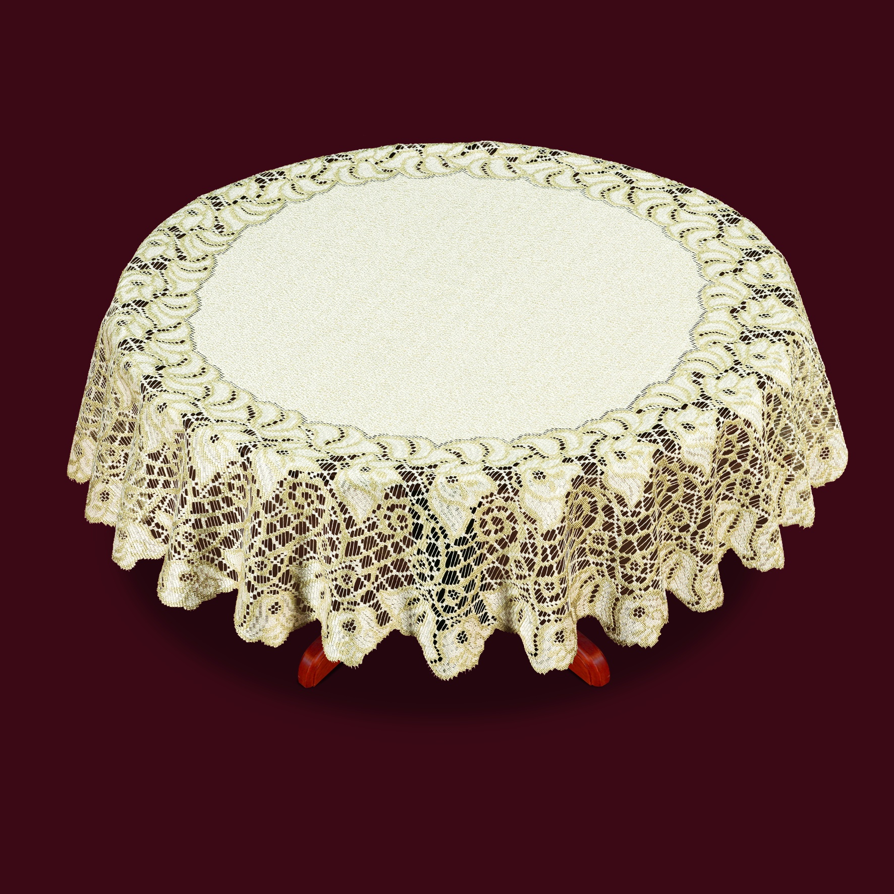 Скатерть Haft Skarb Babuni, круглая, цвет: кремовый, золотистый, диаметр 120 см скатерть haft цвет белый диаметр 120 см
