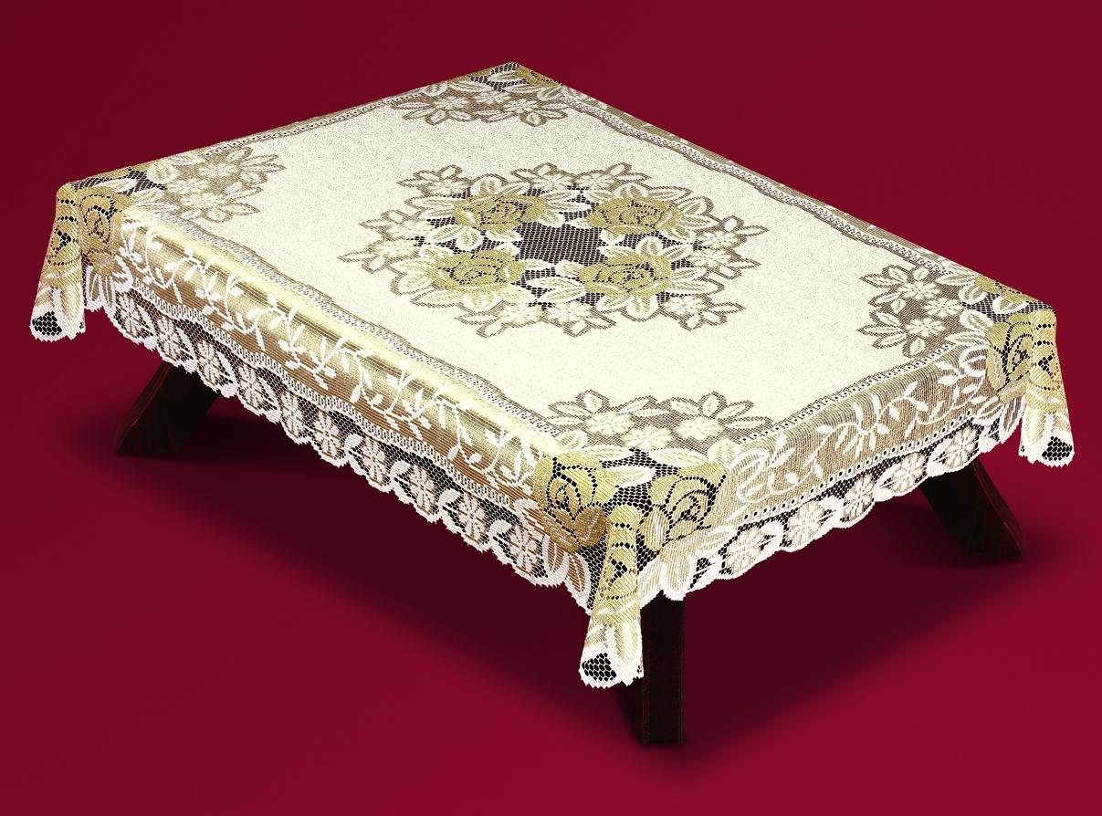 Скатерть Haft Skarb Babuni, прямоугольная, цвет: кремовый, золотистый, 100x 150 см. 54110/1008906Великолепная прямоугольная скатерть Haft Skarb Babuni, выполненная из 100% полиэстера, органично впишется в интерьер любого помещения, а оригинальный дизайн удовлетворит даже самый изысканный вкус. Скатерть изготовлена из сетчатого материала с ажурным цветочным орнаментом по краям и по центру. Скатерть Haft Skarb Babuni создаст праздничное настроение и станет прекрасным дополнением интерьера гостиной, кухни или столовой.